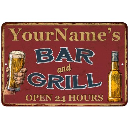 Your Name Red Bar and Grill Personalized Rustic Sign Decor 8x12