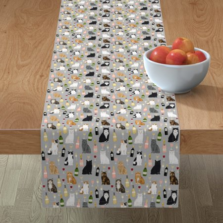 Image of Table Runner Cat Cats Wine Champagne Bubbly Rose Red Wine Cotton Sateen