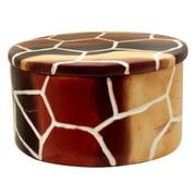 Stoneage Arts Handmade Giraffe Skin Pattern Round Trinket Box (Kenya)