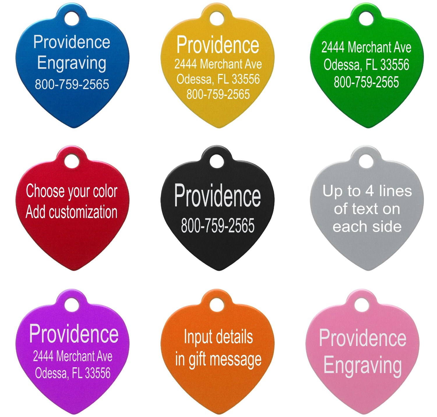 Pet ID Tags - Up to 8 Lines of Custom Engraving - Bone - SILVER