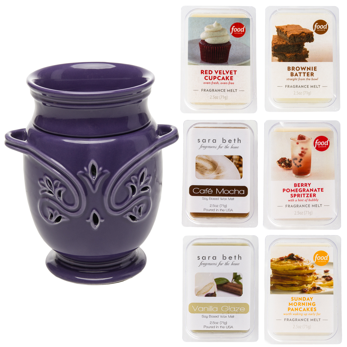 Joy Mangano Ceramic Wax Melter Electric Plug In Air Fragrance Diffuser Freshener Bundled With Scented Candle Wax Melt