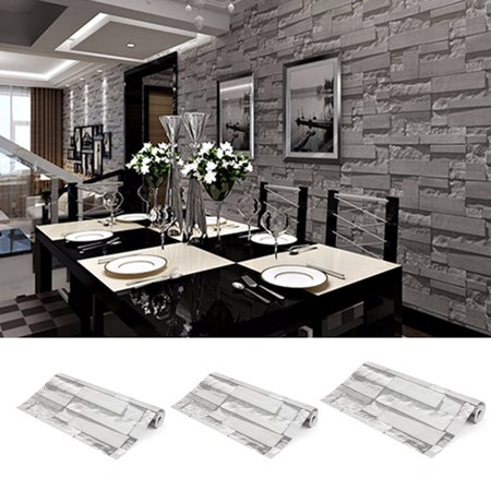 3Rolls X 57sq.ft/393.7'' x 21'' 3D Brick Stone Effect Modern Wall Paper Wall Sticker Wallpaper Roll Vinyl for Restaurant Hotel Living Room TV Background Decor Roll Textured Mural (Cool Halloween Background Wallpapers)