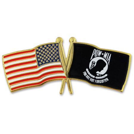USA and POW Crossed Flags Lapel Pin
