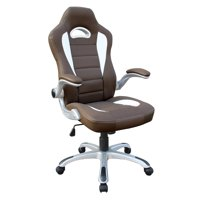 Techni Mobili High Back Executive Sport Race Office Chair with Flip-Up Arms RTA-3527, Camel