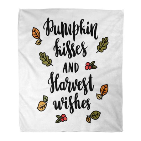 KDAGR Throw Blanket Warm Cozy Print Flannel The Saying Pumpkin Kisses and Harvest Wishes in Calligraphic Leaves Berries Comfortable Soft for Bed Sofa and Couch 50x60 Inches