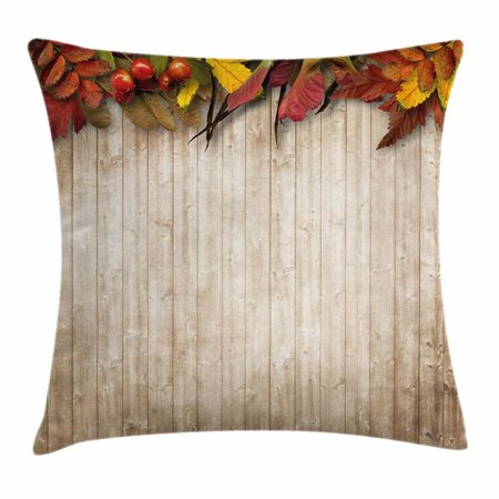 Ambesonne Fall Decor Dry Leaves Berries Square Pillow - Fall Leaves Decor