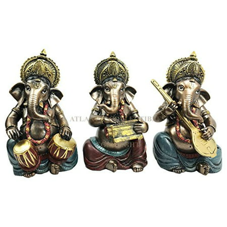 Set of Three Celebration of Life Lord Ganesha Playing Musical Instruments Hindu Elephant God Deity Figurine Eastern Enlightenment Collectible Decor](Musical Decor)