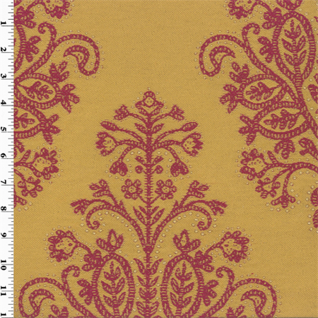 Yellow red jacquard paisley home decorating fabric fabric for Home decorating fabric by the yard