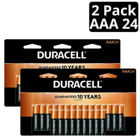 Duracell Coppertop Alkaline, AAA Batteries, 48 Count (2 X 24 Packs) Includes 2 packs of Duracell Coppertop Alkaline, AAA Batteries, 24 pack for a total of 48 AAA Batteries.