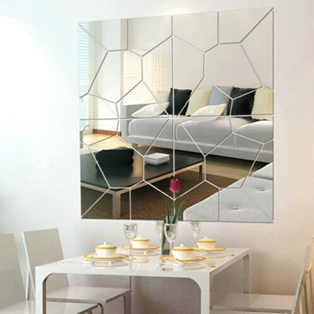 7pcs 3d Self Home Decor Adhesive Removable Modern Mirror Tile