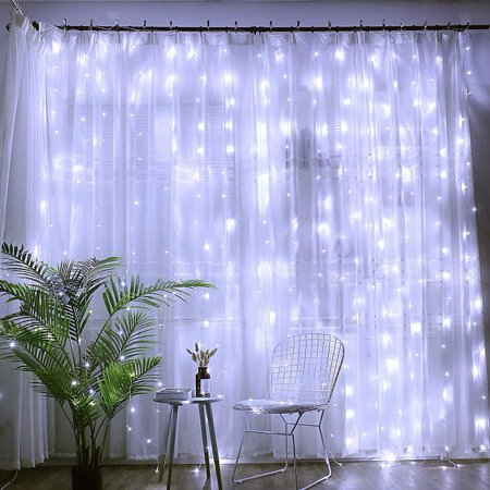 EEEKit 9.8ft*9.8ft Window Curtain Icicle Lights, 304 LEDs String Fairy Starry Twinkle Stars Curtain Lights Indoor Outdoor Wall Window Curtain String Lights for Bedroom Party Wedding Christmas Decor ()