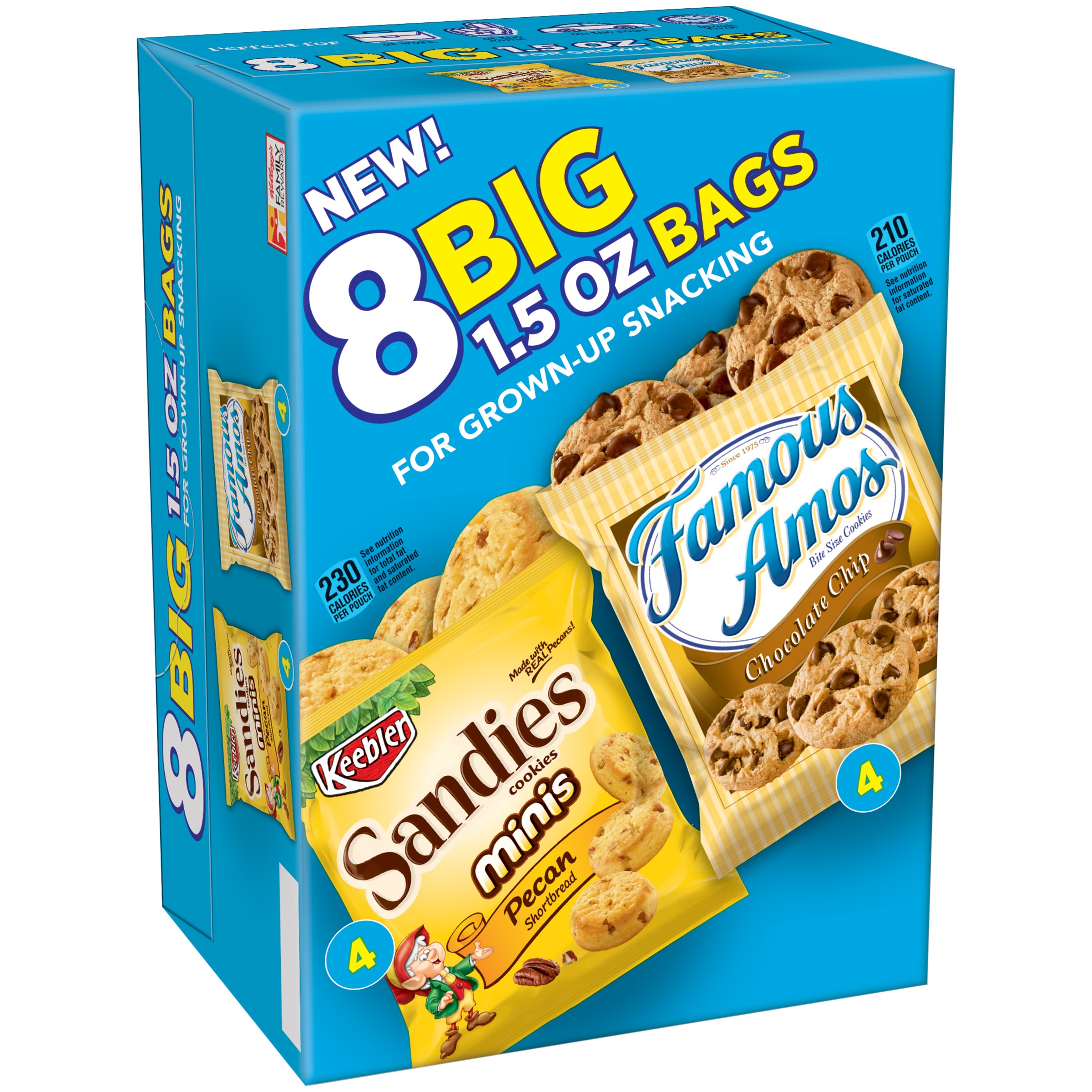 Keebler Sandies Pecan Shortbread Minis & Famous Amos Bite Size Chocolate Chip Cookies Variety Pack 8-1.5 oz. Bags