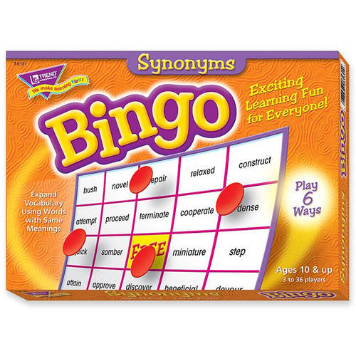 "Trend Synonyms Bingo Game, 5"" x 5"", Set Includes 36 Cards, 700 Markers, Caller Card"
