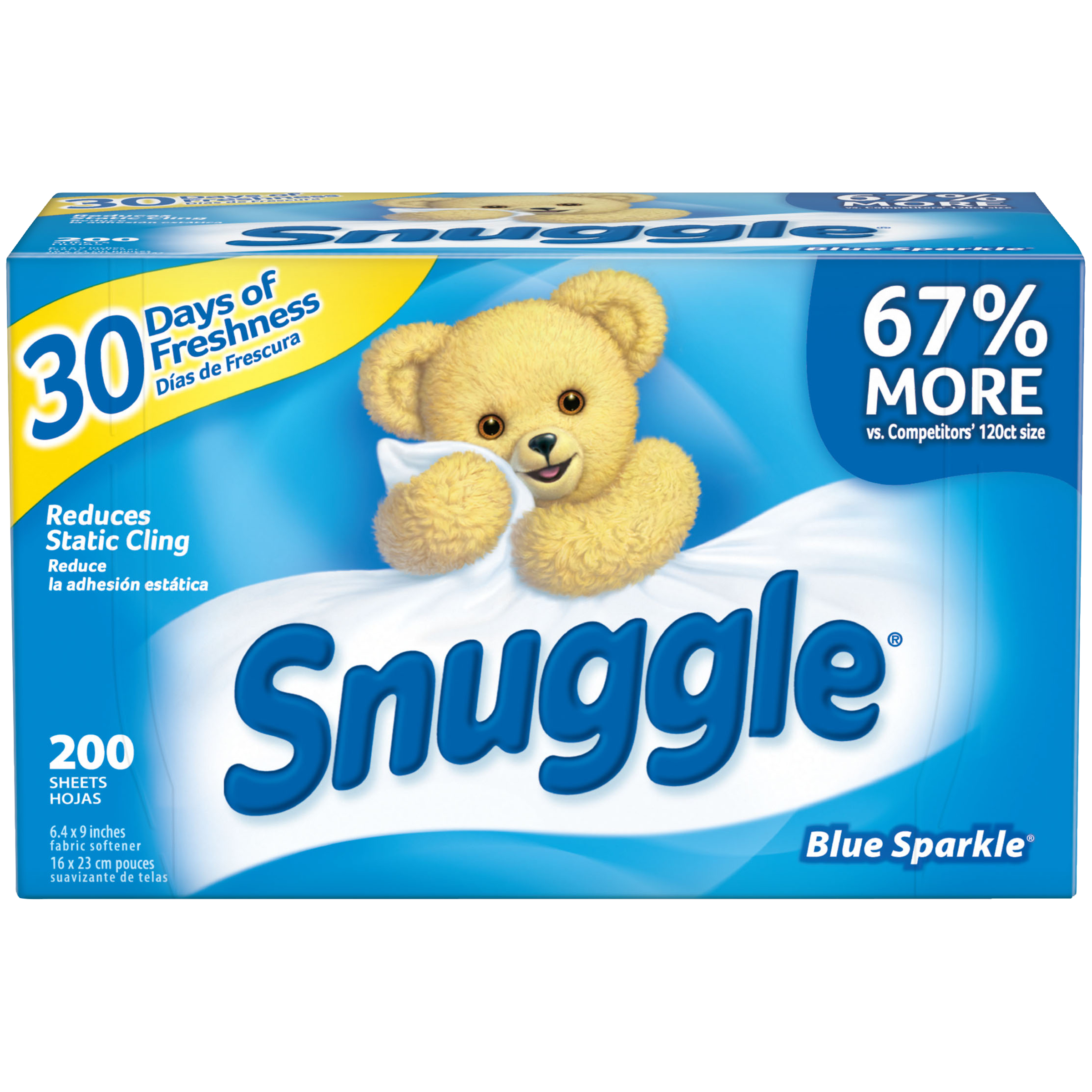 Snuggle Fabric Softener Sheets, Blue Sparkle, 200 Count