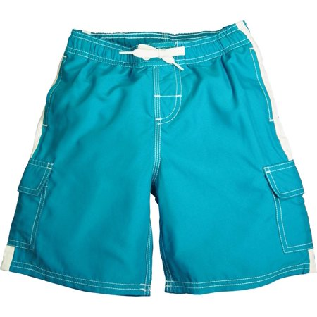 Norty Boys 4 - 20 Cargo Watershort Swim Suit Boardshort Swim Trunks - 6 Colors, 40364 Aqua / 18/20 (Boys Swim Trunks Size 7)