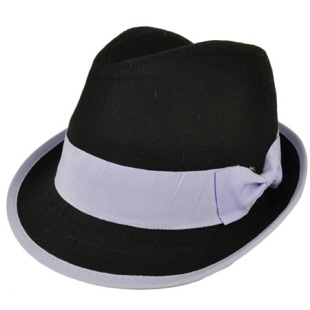 Fedora Black Purple Bow Womens Diamond Top Trilby Gatsby Small Medium Gangster - Black And White Top Hat