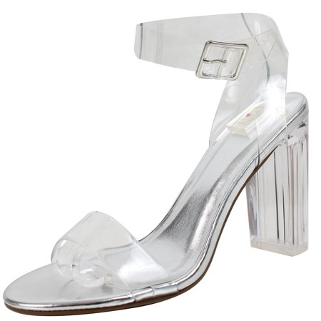 951adc97ca21 Delicious - Delicious Women s Cinderella Clear Ankle Straps Perspex Lucite  Clear Block Heel Sandal (Silver