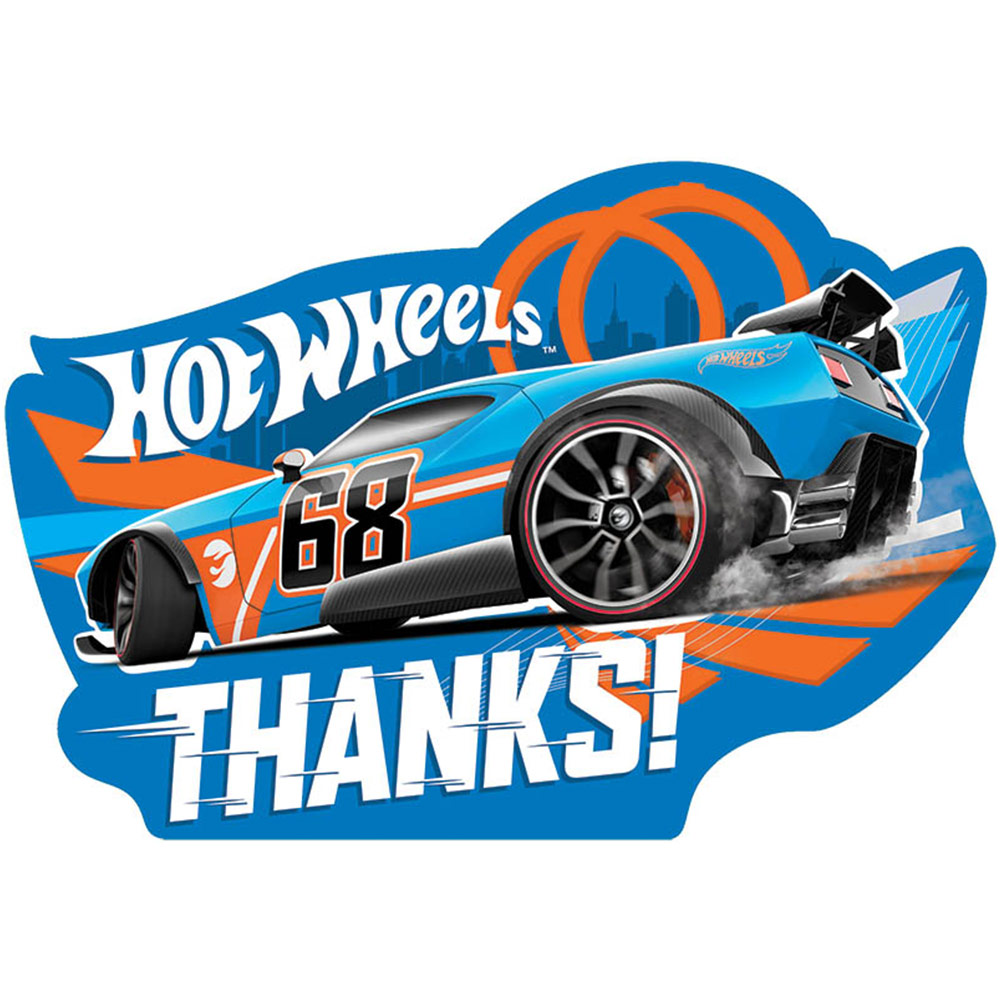 Hot Wheels Wild Racer Postcard Thank Cards (8 Count) - Party Supplies