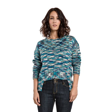 (Miss Halladay Women Multi Color Space Dye Heavy Stitch Pull Over Scoop Neck Sweater Hi-Low Hem)