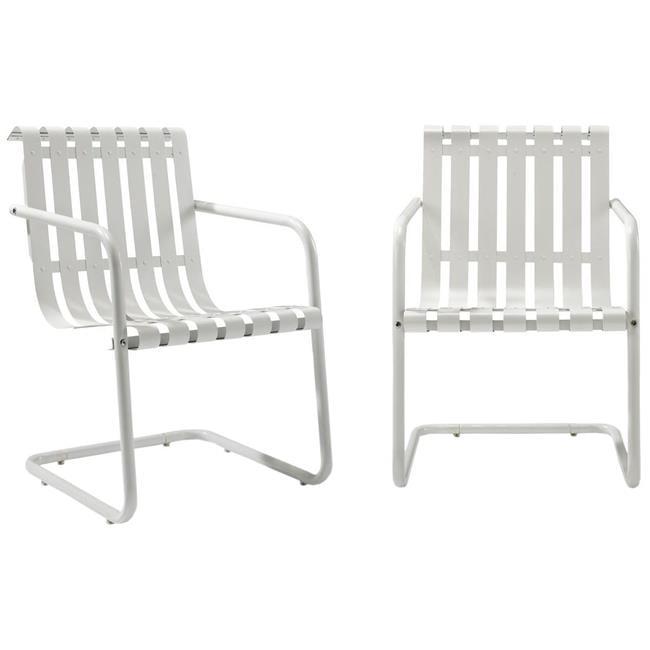 Gracie Retro Metal Outdoor Spring Chair - Alabaster White