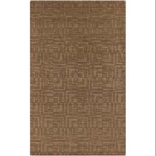 "Swatch of 6"" x 6"" Expanding Squares Light Brown Hand Loomed Wool Square Area Rug Sample"