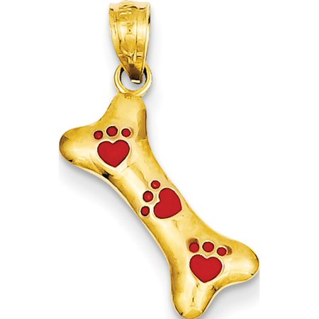 14k Yellow Gold Yellow Dog Bone with Red Enamel Paw Prints (14x18mm) Pendant / Charm 14k Yellow Gold Dog Pendant