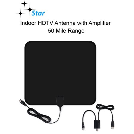 Star Amplified Indoor HDTV Antenna – 50 Mile Range with Detachable Amplifier Power Supply