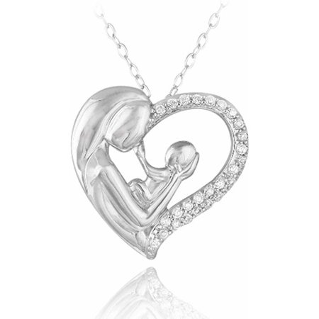 CZ Sterling Silver Mother Holding Baby Heart Necklace