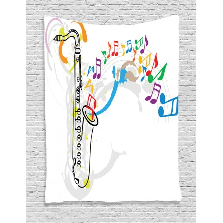 Red Orange Green - Jazz Music Tapestry, Celebration Festival Theme Colorful Artwork with Music Notes and Saxophone, Wall Hanging for Bedroom Living Room Dorm Decor, Orange Green Red, by Ambesonne