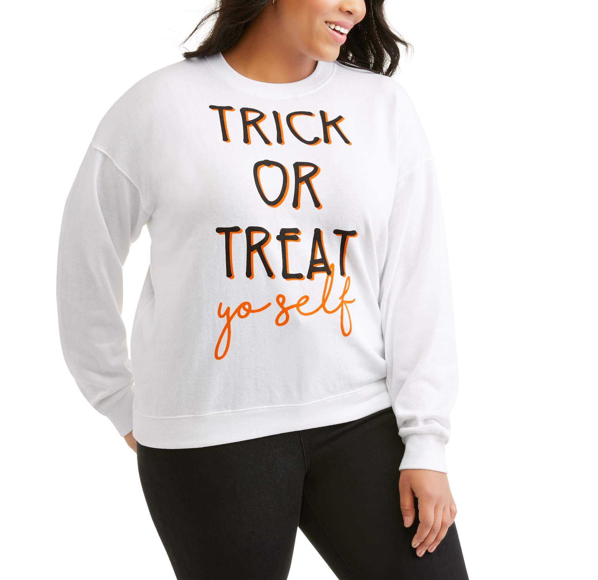 "Women's Plus ""Treat Yourself"" Cozy Oversized Halloween Graphic Fleece Pullover"