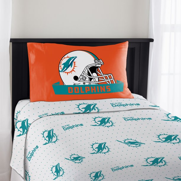 Nfl Miami Dolphins Monument Twin Sheet, Miami Dolphins Crib Bedding Sets