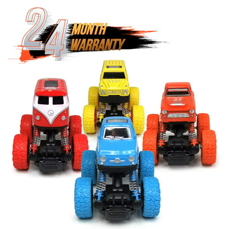 4 Pack Truck Toys Car Toys Off-Road Inertial Vehicle Four-Wheel Drive Push and Go Simulation Alloy Car Toys for Boy Girls Kids Children Toddler Play Games Best