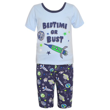 Sol Sleep Little Boys Light Blue Outer Space Inspired Print 2 Pc Pajama - Boutique Pajamas