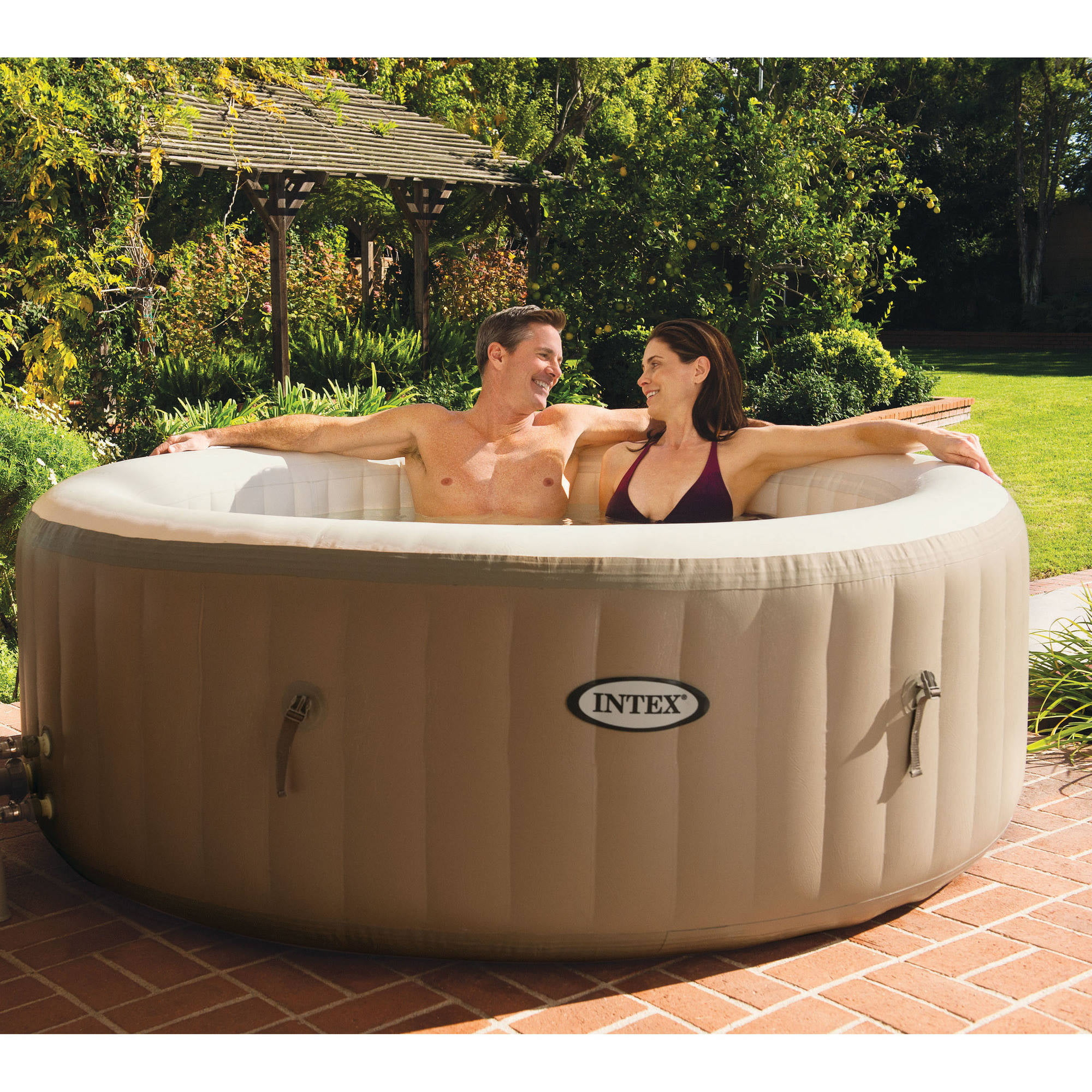 Intex 120 Bubble Jets 4-Person Round Portable Inflatable Hot Tub Spa ...