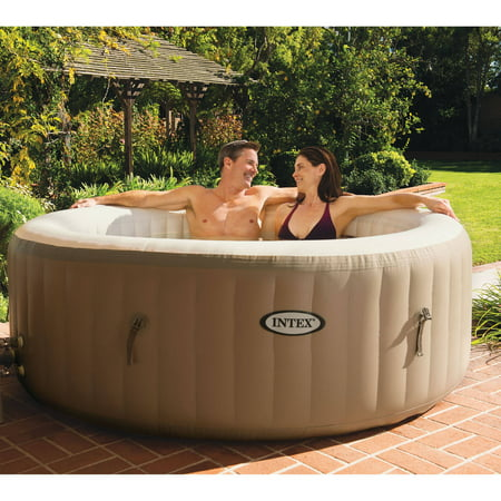 Intex 120 Bubble Jets 4 Person Round Portable Inflatable Hot Tub Spa