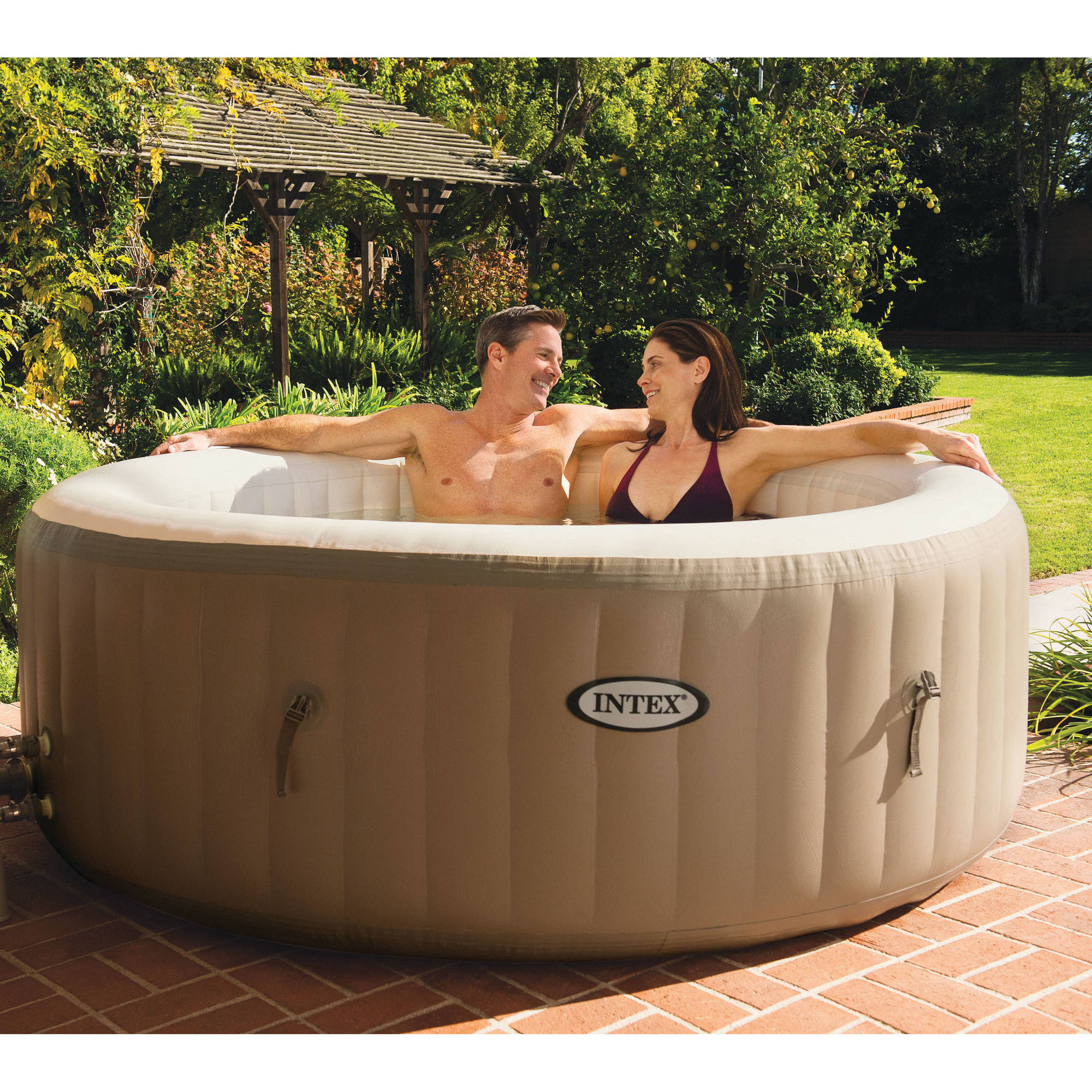 Exceptionnel Intex 120 Bubble Jets 4 Person Round Portable Inflatable Hot Tub Spa