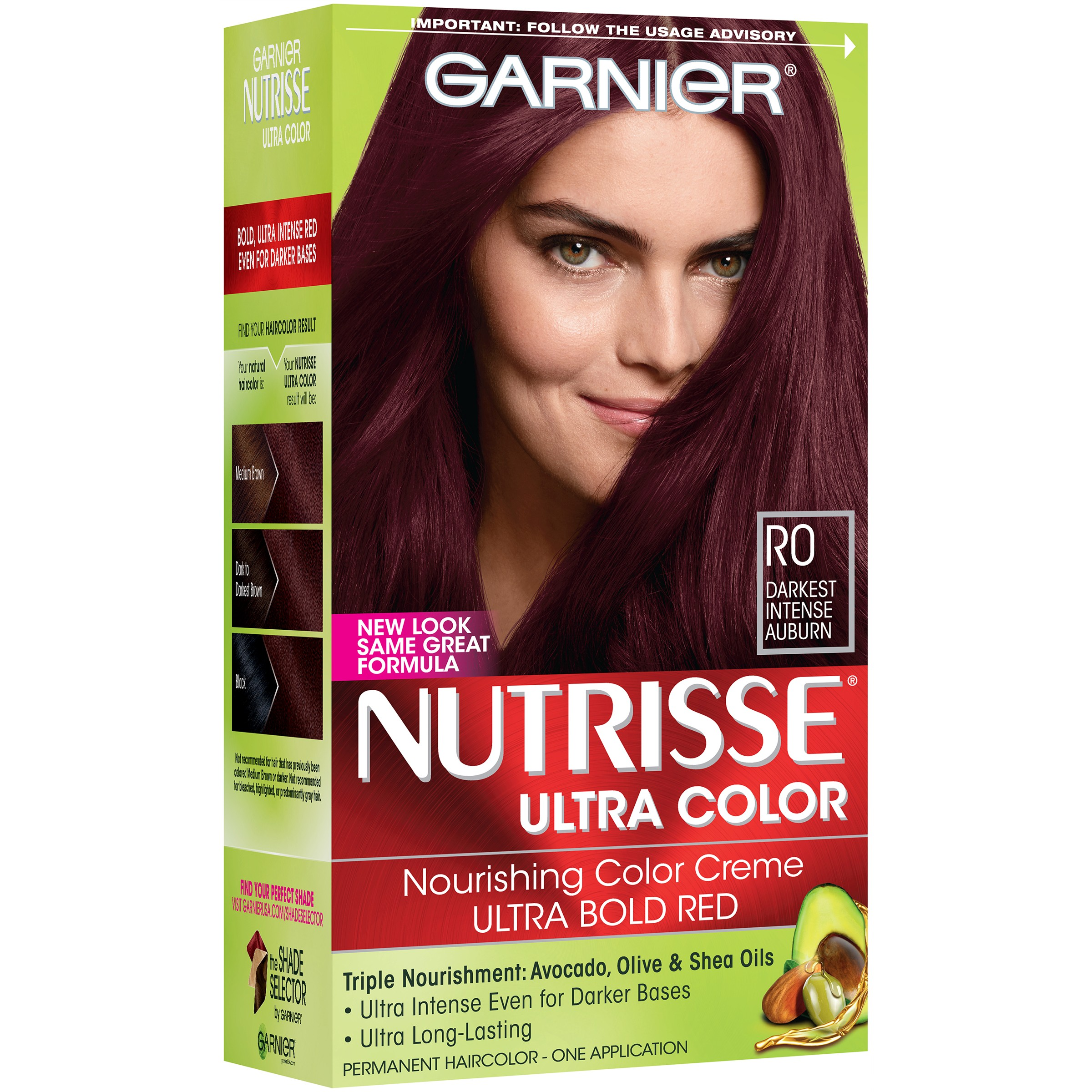 Garnier Nutrisse Ultra Color Nourishing Color Creme, R0 Darkest Intense Auburn