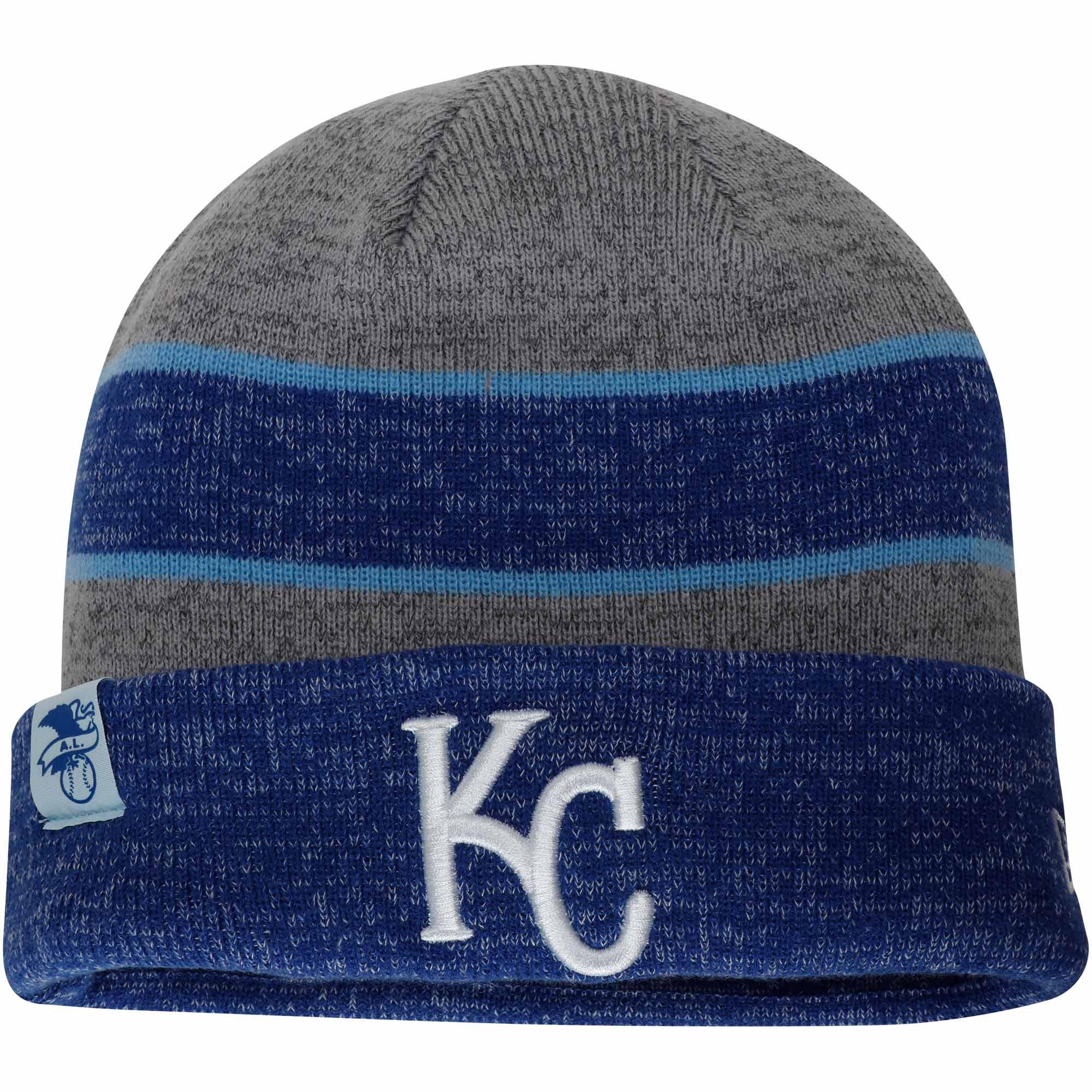 Kansas City Royals New Era On-Field Sport Knit Hat - Heathered Gray/Heathered Royal - OSFA