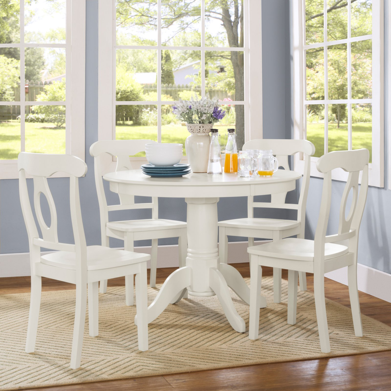 Dorel Living Aubrey 5-Piece Traditional Height Pedestal Dining Room Set, Multiple Colors by Dorel Asia