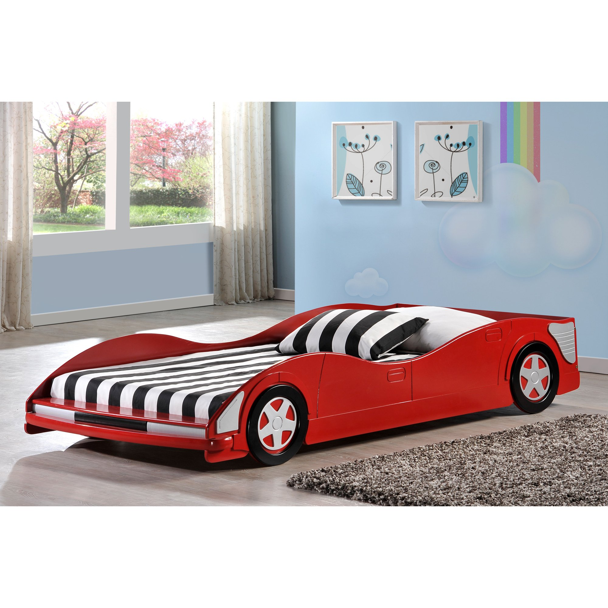Donco Kids  Red Race Car Twin Bed