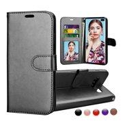 Njjex for Samsung Galaxy S10 / Galaxy S10 Plus / Galaxy S10 5G / Galaxy S10E Wallet Cases Cover, Njjex Buit in 3 Card Slot PU Leather Magnetic Protective Cover with Photo Window & Wrist Strap -Black
