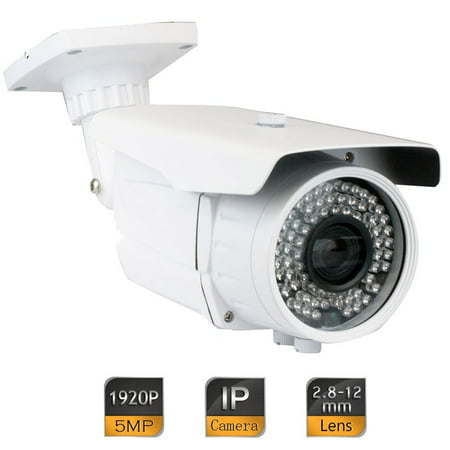 GW Security 5MP 2592 x 1920 Pixel Super HD 1920P High Resolution Network PoE 1080P Security Bullet IP Camera with 2.8-12mm Varifocal Zoom Len and 72Pcs IR LED up to 196FT IR Distance (High Resolution Pinhole)