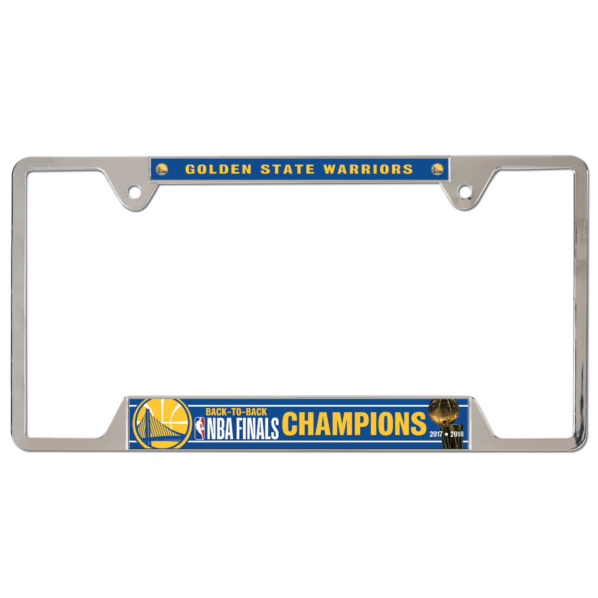 Golden State Warriors WinCraft 2018 NBA Finals Champions Metal License Plate Frame - No Size