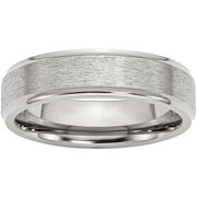 Stainless Steel Ridged Edge 6mm Satin and Polished Band, Available in Multiple Sizes
