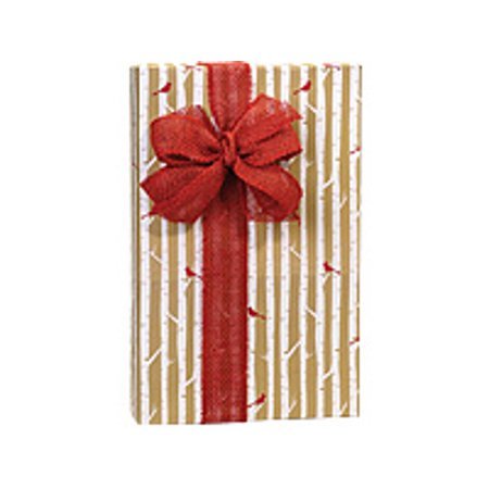 Gold and White Striped Red Bird Woodland Cardinal Holiday /Christmas Gift Wrapping Paper 16ft