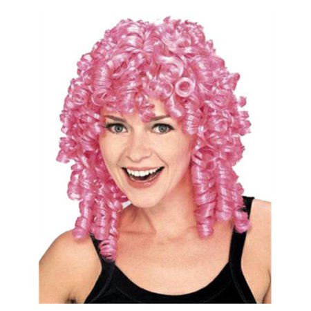 Women's Pink Curly Top Ringlet Clown or Loopsy Doll Costume - Pink Beehive Wig