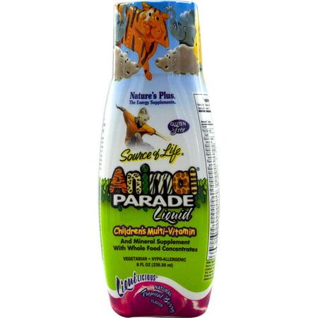 Nature's Plus, Source of Life, Animal Parade Liquid, Children's Multi-Vitamin, Natural Tropical Berry Flavor, 8 fl oz (pack of