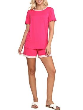 Doublju Women's Short Sleeve Round Neck Pajama Sleepwear 2 pcs Set (Plus Size Available)