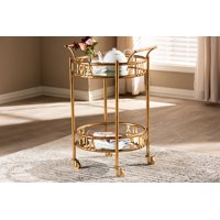 Baxton Studio Modern and Contemporary Antique Gold Finished 2-Tier Mobile Bar Cart