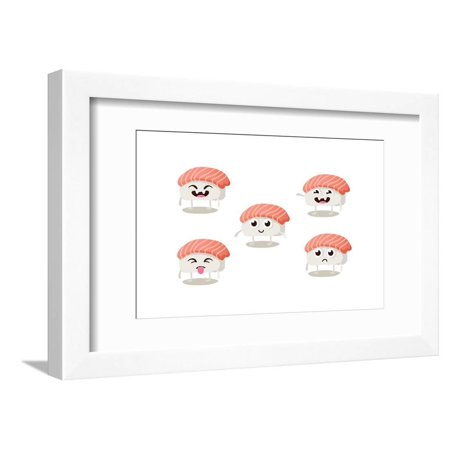 Set of Funny Sushi Characters with Cute Faces and Different Emotions. Asian Food Vector Illustration Humor Framed Print Wall Art By Anastasia (Asian Round Face)